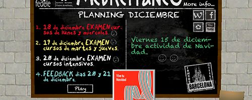 Escuela Mediterraneo Barcelona Sapnish course planning Navidad 2017