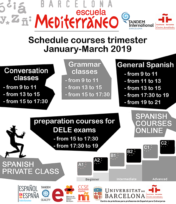 Schedule Spanish courses 2019