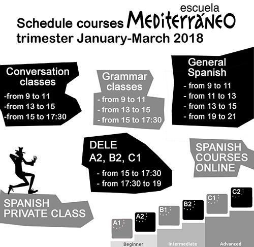 Escuela Mediterraneo Barcelona Spanish course Schedule English 2018 enero