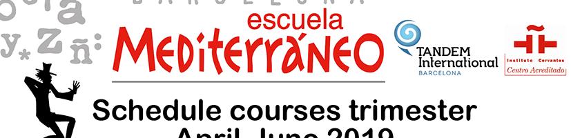Spanish courses shedule Barcelona
