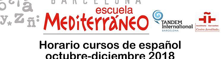 Horario cursos de español extranjeros octubre diciembre