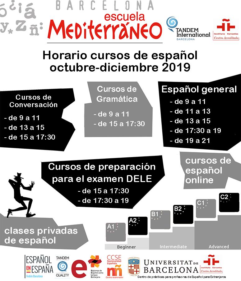 Horario cursos español para extranjeros
