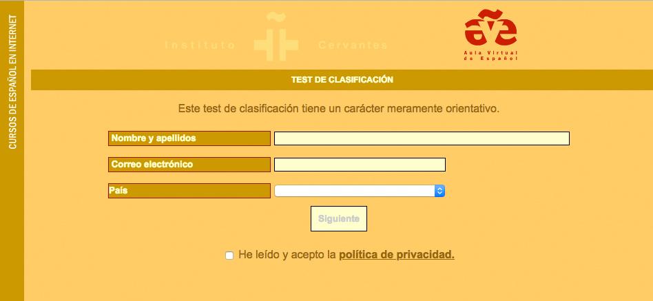 Captura de pantalla del test DELE