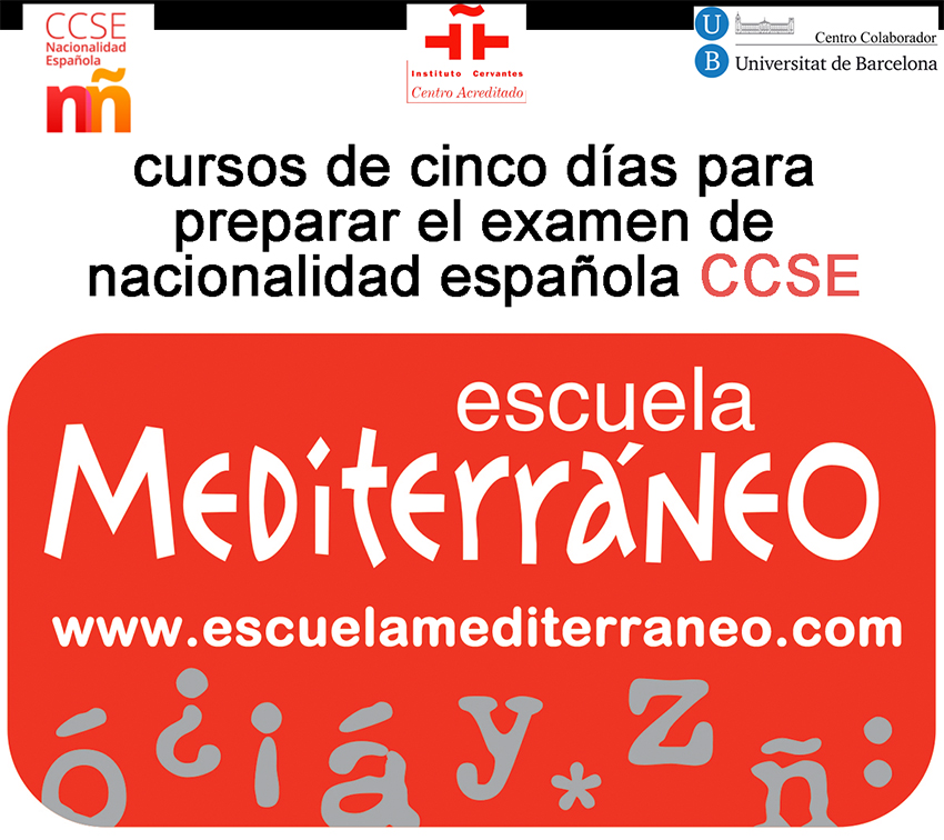 Escuela Mediterraneo Barcelona Spanish courses CCSE Examen Nacionalidad Española